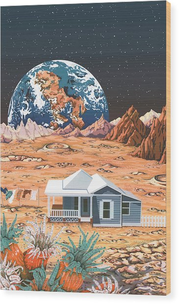 Man On The Moon Wood Print by Anne Gifford