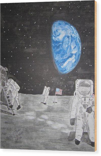 Man On The Moon Wood Print