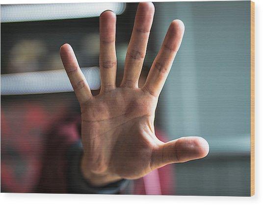 Man Showing Stop Gesture Wood Print by Erik Witsoe / EyeEm