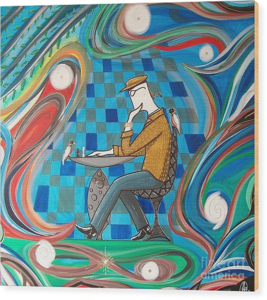 Man Sitting In Chair Contemplating Chess With A Bird Wood Print