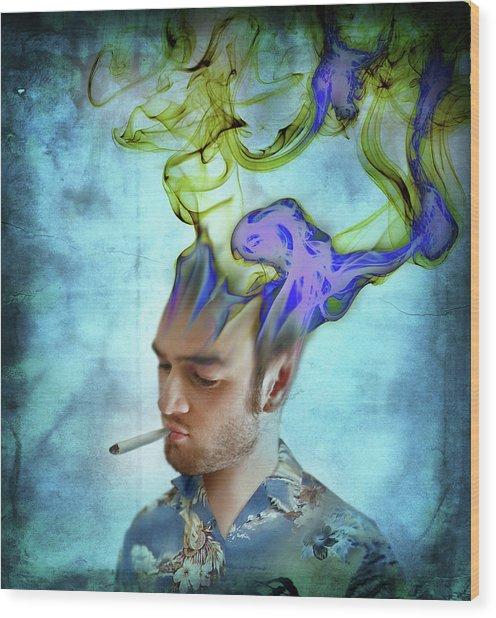 Man Smoking Cigarette With Smoke Coming Wood Print