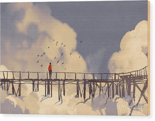 Man Standing On Old Bridge In Wood Print