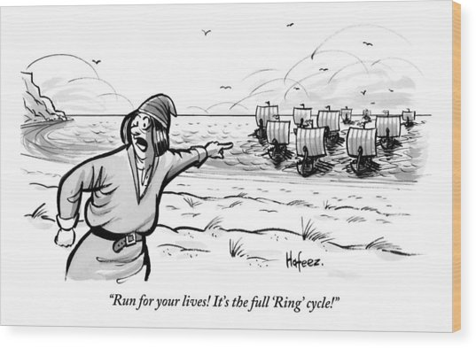 Man Standing On The Beach Screams As A Fleet Wood Print