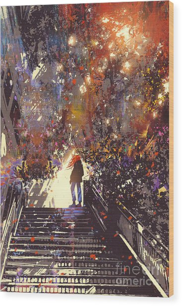 Man Standing On The Top Of Stair In The Wood Print by Tithi Luadthong