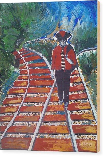 Man Walking On Rails Wood Print by Ivan Ivanov
