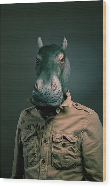 Man Wearing Hippopotamus Mask Wood Print