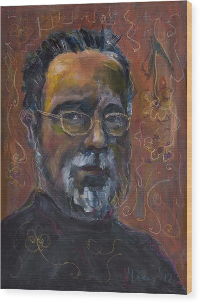 Man With Flowers-self-portrait Wood Print