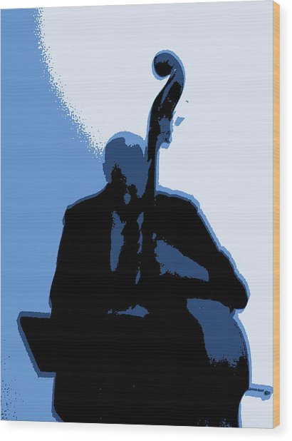 Man With Upright Bass In Blue Wood Print by Mike McCool