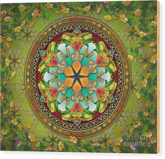 Mandala Evergreen Sp Wood Print