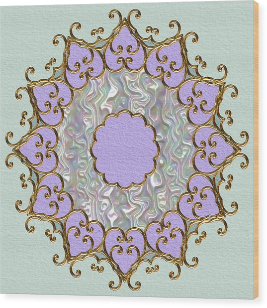 Mandala In Gold And Orchid Wood Print by Pat Follett
