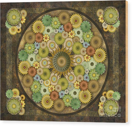 Mandala Stone Flowers Sp Wood Print