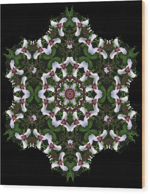 Mandala Trillium Holiday Wood Print
