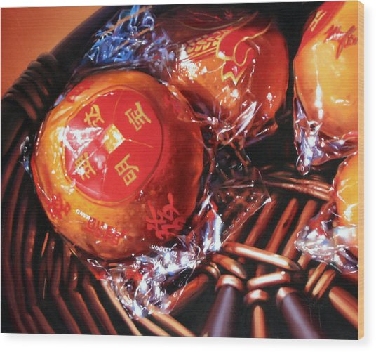 Mandarins In Cello Packets Wood Print by Dianna Ponting