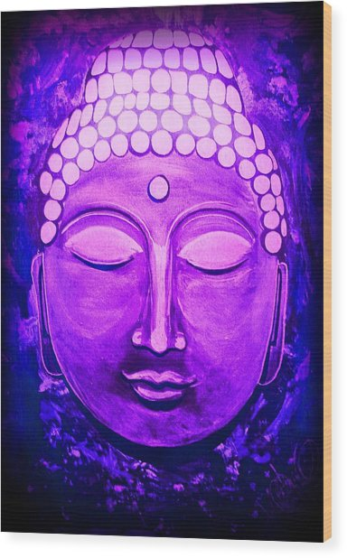 Wood Print featuring the painting Mandi's Buddha by Michelle Dallocchio