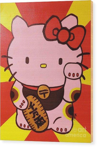 Maneki Hello Kitty Wood Print