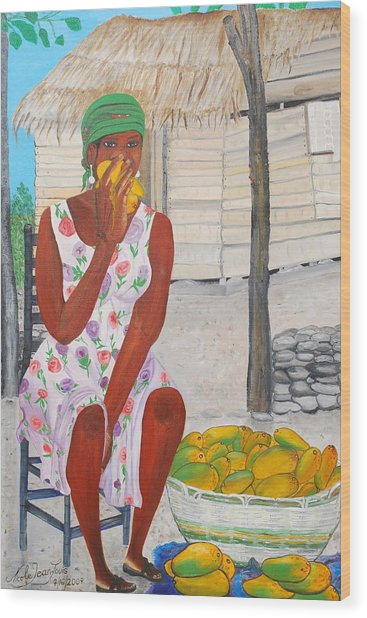 Mango Merchant Woman Wood Print