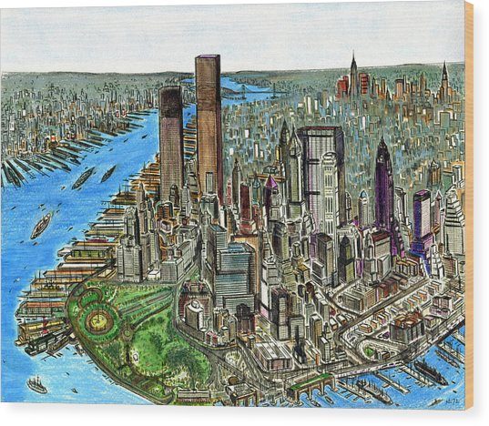 New York Downtown Manhattan 1972 Wood Print