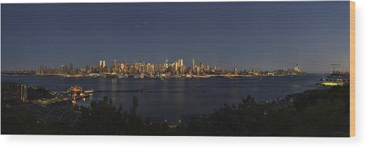Manhattan At Dusk Wood Print