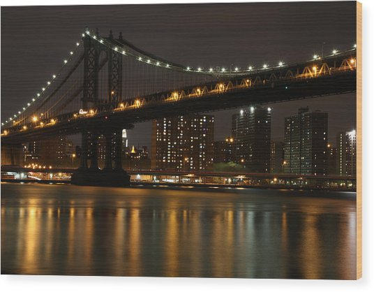 Manhattan Bridge 3019-48 Wood Print by Deidre Elzer-Lento