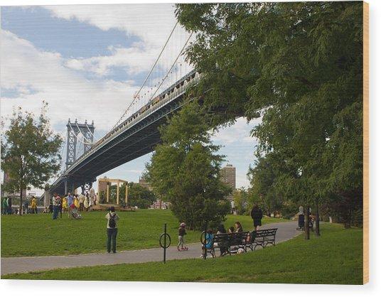 Manhattan Bridge And Park Wood Print