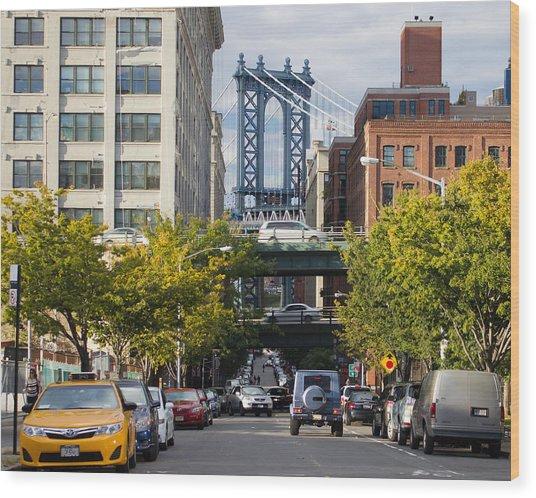 Manhattan Bridge From Dumbo Wood Print