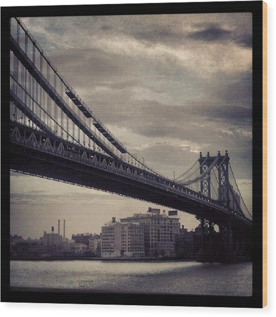 Manhattan Bridge In Ny Wood Print