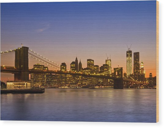 Manhattan Brooklyn Bridge Wood Print by Melanie Viola