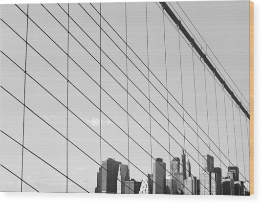 Manhattan From Brooklyn Bridge Wood Print