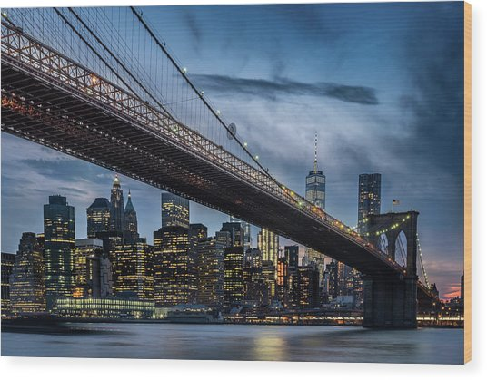 Manhattan From Dumbo Wood Print