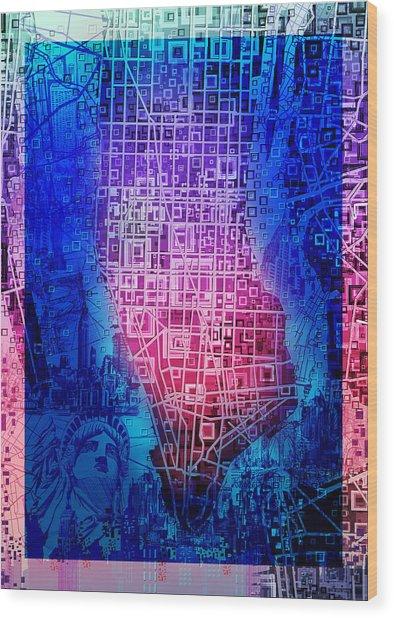Manhattan Map Abstract 5 Wood Print