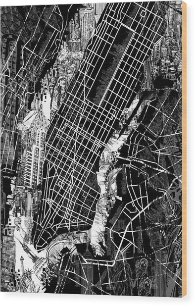 Manhattan Map Black And White Wood Print