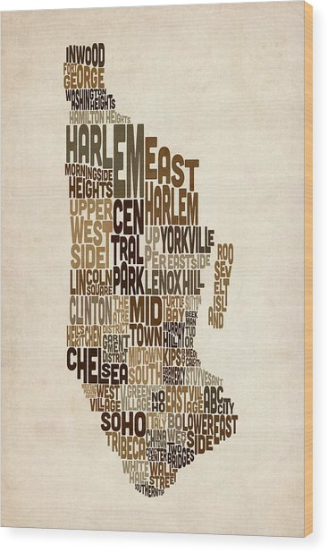 Manhattan New York Typography Text Map Wood Print by Michael Tompsett