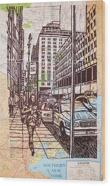 Manhattan On Map Wood Print
