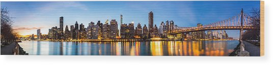 Manhattan Panorama And Queensboro Bridge Wood Print