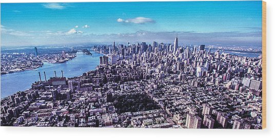 Manhattan Seen From North  Wood Print by Kim Lessel
