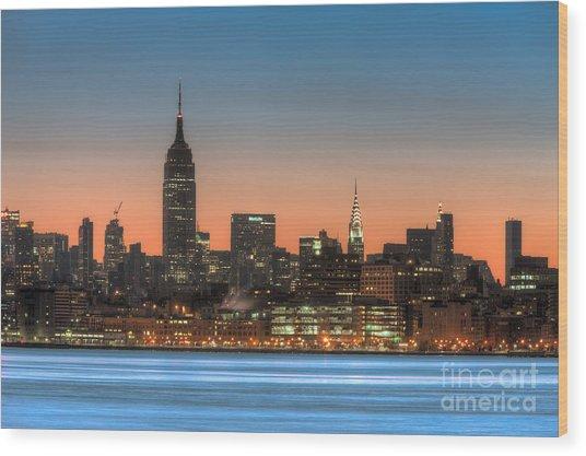 Manhattan Skyline And Pre-sunrise Sky I Wood Print
