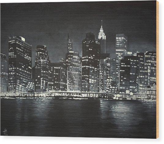 Wood Print featuring the painting Manhattan Skyline At Night by Jennifer Hotai