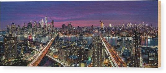 Manhattan Skyline During Beautiful Sunset Wood Print