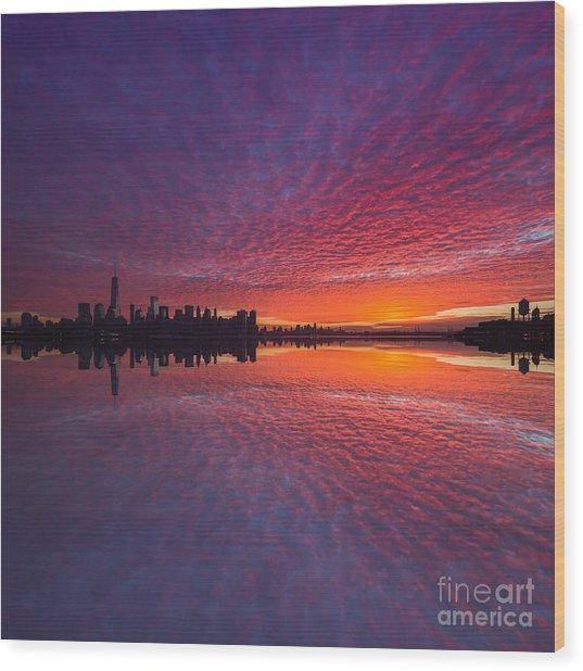 Manhattan Sunrise  Wood Print