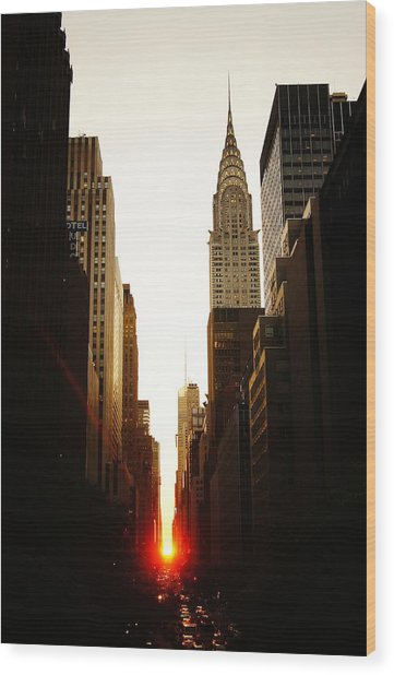 Manhattanhenge Sunset And The Chrysler Building  Wood Print