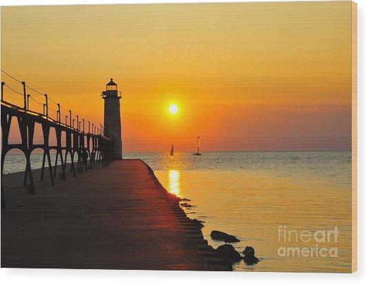 Manistee Lighthouse Sunset Wood Print
