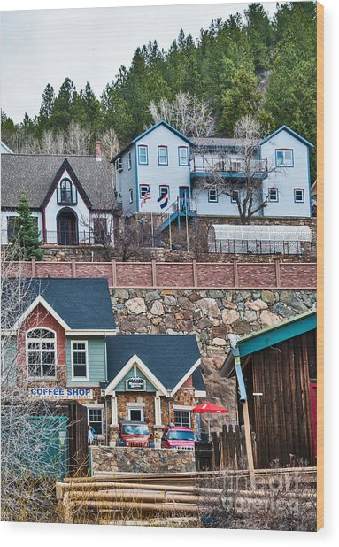 Wood Print featuring the digital art Manitou Springs Villiage by Mae Wertz