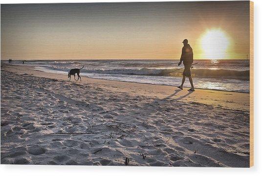 Man's Best Friend On Beach Wood Print