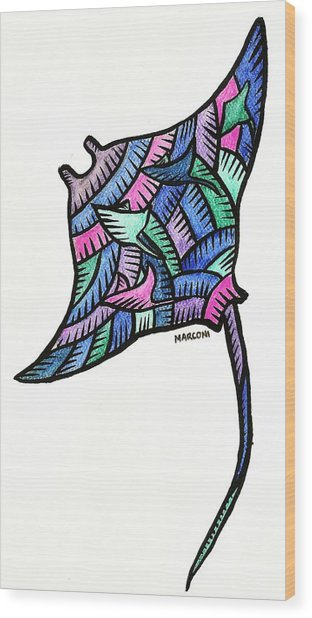 Manta Ray 2009 Wood Print by Marconi Calindas