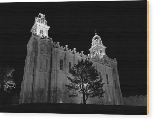 Manti Temple Black And White Wood Print