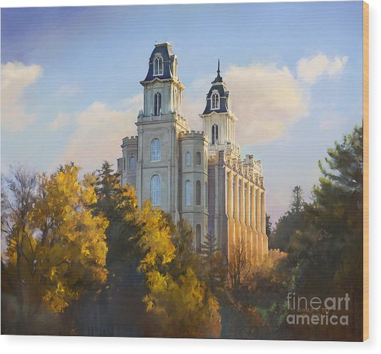 Manti Temple Wood Print