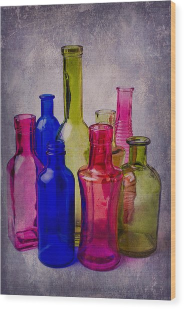 Many Colorful Bottles Wood Print