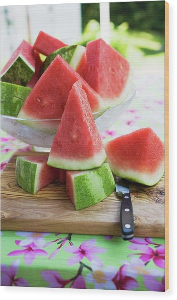 Many Pieces Of Watermelon In A Glass Bowl Wood Print