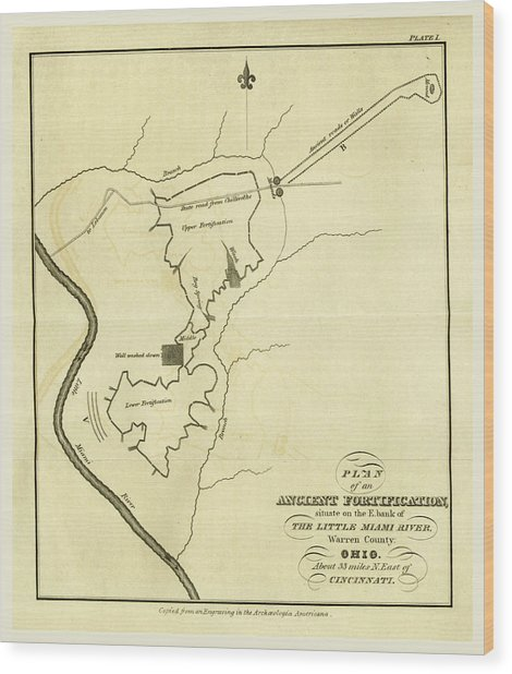 Map Of An Ancient Fortification On The Bank Of The Little Wood Print by Litz Collection