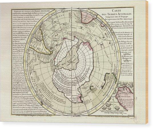 Map Of Antarctica Wood Print